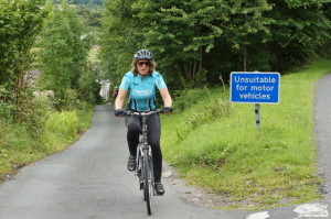 Me cycling a steep section at the beginning of Whinlatter pass